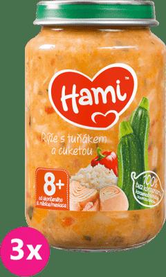 3x HAMI Ryža, tuniak a cuketa (200 g) - mäsovo-zeleninový príkrm