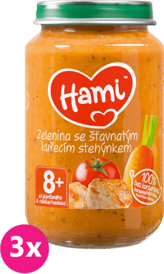 3x HAMI Zemiaky s paradajkami a kuraťom (200 g) - mäsovo-zeleninový príkrm