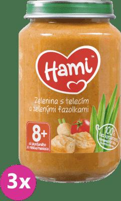 3x HAMI Zelenina s teľacím mäsom (200 g) - mäsovo-zeleninový príkrm