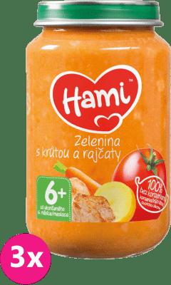 3x HAMI Zelenina s morkou a paradajkami (200 g) - mäsovo-zeleninový príkrm