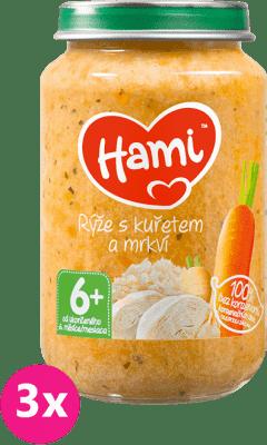 3x HAMI Ryža s kuracím mäsom (200 g) - mäsovo-zeleninový príkrm