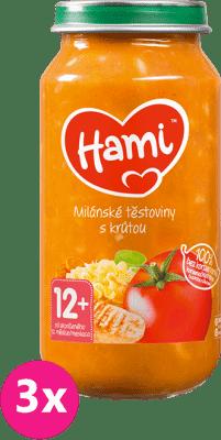 3x HAMI Milánske cestoviny s morkou (250 g) - mäsovo-zeleninový príkrm