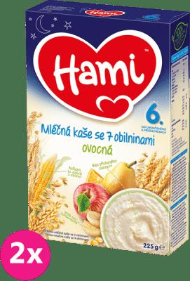2x HAMI Kaša na dobrú noc obilná s ovocím (225 g) - mliečna kaša