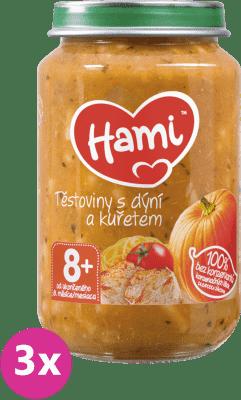 3x HAMI Cestoviny s tekvicou a kuracím mäsom (200 g) - mäso-zeleninový príkrm