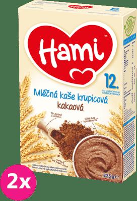 2x HAMI Kaša krupicová s kakaom (225 g) - mliečna kaša