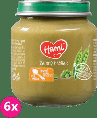 6x HAMI Zelený hrášok 125g - zeleninový príkrm