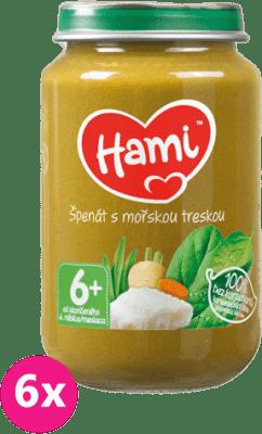6x HAMI Špenát s morskou treskou 200 g - mäsovo-zeleninový príkrm