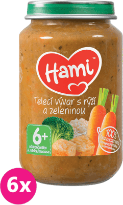 6x HAMI Teľací vývar s ryžou a zeleninou 200 g - mäsovo-zeleninový príkrm