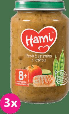 3x HAMI Pestrá zelenina s morkou 200 g - mäsovo-zeleninový príkrm