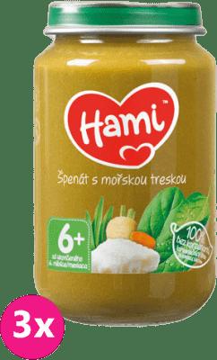 3x HAMI Špenát s morskou treskou 200 g - mäsovo-zeleninový príkrm