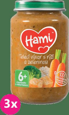 3x HAMI Teľacie vývar s ryžou a zeleninou 200g - mäsovo-zeleninový príkrm