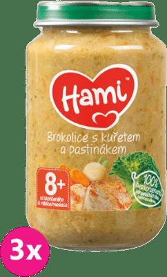 3x HAMI Brokolica s kuraťom a paštrnákom 200 g - mäsovo-zeleninový príkrm