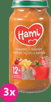 3x HAMI Makaróny s duseným bravčovým, paradajkami a paprikou 250 g - mäsovo-zeleninový príkrm