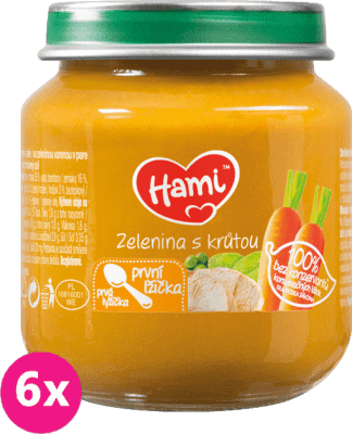 6x HAMI Zelenina s morčacím mäsom 125 g - mäsovo-zeleninový príkrm