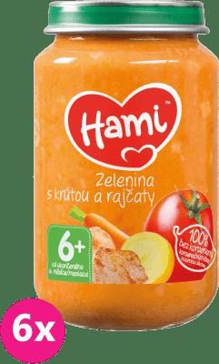 6x HAMI Zelenina s morkou a paradajkami (200 g) - mäsovo-zeleninový príkrm