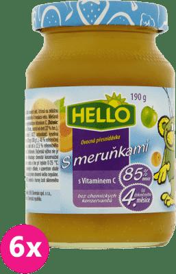 6x HELLO s marhuľami 190g - ovocný príkrm