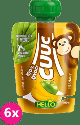 6x HELLO Cuuc 100% s banánmi 100g - ovocný príkrm