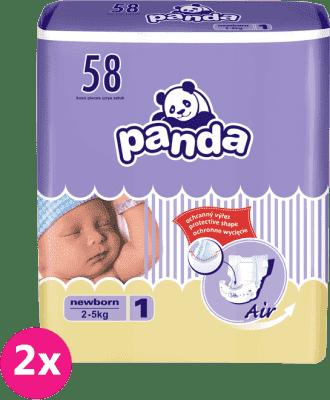 2x BELLA PANDA Newborn 58ks (2-5 kg) - jednorazové plienky
