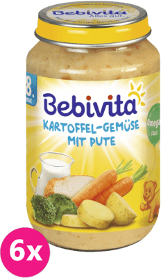 6x BEBIVITA Zemiaky a zelenina s morčacím mäsom (220 g) - mäsovo-zeleninový príkrm