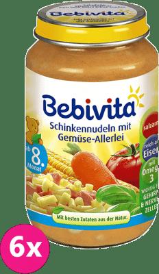 6x BEBIVITA Cestoviny so šunkou a zeleninovou zmesou (220 g) - mäsovo-zeleninový príkrm