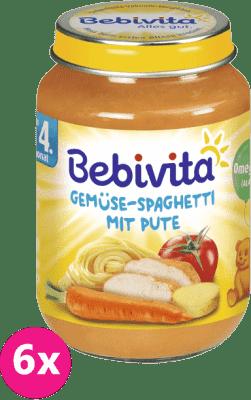 6x BEBIVITA Zelenina a špagety s morčacím mäsom (190 g) - mäsovo-zeleninový príkrm