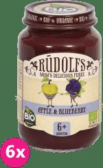6x RUDOLFS BIO Jablkové a čučoriedkové pyré 190 g - ovocný príkrm