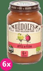 6x RUDOLFS BIO Jablkové a slivkové pyré 190 g - ovocný príkrm