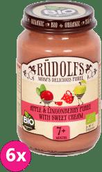 6x RUDOLFS BIO Jablkovo-brusnicové pyré so smotanou 190 g - ovocno-mliečny príkrm