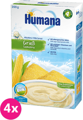 4x HUMANA Kaša mliečna kukuričná 4m+ (200 g)