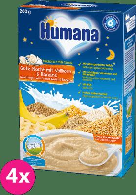 4x HUMANA Kaša mliečna viaczrnná na dobrú noc s banánom 6m+ (200 g)