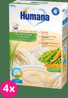 4x HUMANA Kaša ryžová s hráškom a mrkvou 6m+ (200 g)