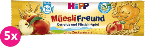 5x HiPP BIO müsli broskyňovo - jablčná tyčinka 20 g