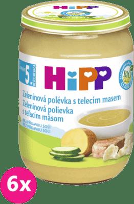 6x HIPP BIO Zeleninová polievka s teľacím mäsom 190g