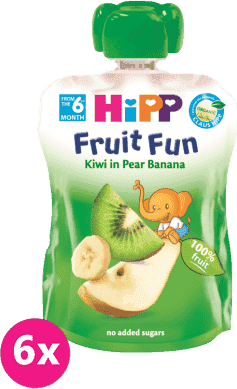 6x HIPP FRUIT FUN BIO ovocné pyré Hrušky-Banán-Kiwi 90g
