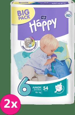 2x BELLA HAPPY Junior 6, 16+ kg, extra Big Pack, 54 ks – jednorázové plienky