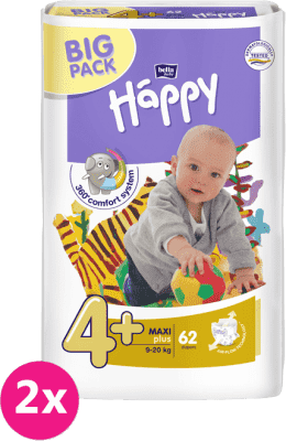 2x BELLA HAPPY Maxi Plus Big Pack 4+ (9-20 kg) 62 ks – jednorazové plienky