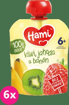6x HAMI Ovocná kapsička Kiwi, jahoda a banán (90 g)
