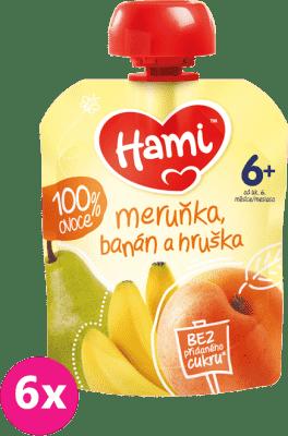 6x HAMI Ovocná kapsička Marhuľa, banán a hruška (90 g)