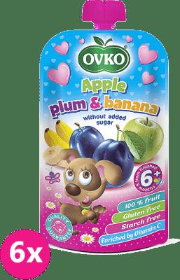 6x OVKO Jablko, slivka, banán bez pridaného cukru 120g – ovocný príkrm