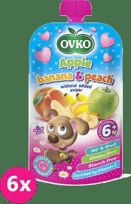 6x OVKO Jablko, banán, broskyňa bez pridaného cukru 120g – ovocný príkrm