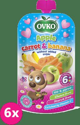 6x OVKO Jablko, karotka, banán bez pridaného cukru – 120g – ovocný príkrm
