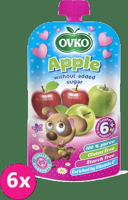 6x OVKO Jablko bez pridaného cukru 120g – ovocný príkrm