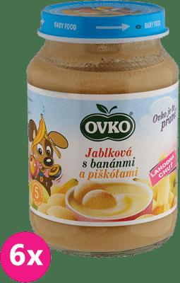 6x OVKO Banán s jablkami a piškótami 190g – ovocný príkrm