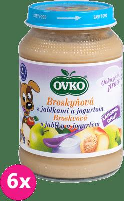 6x OVKO Broskyňa s jablkami a jogurtom 190g – ovocný príkrm