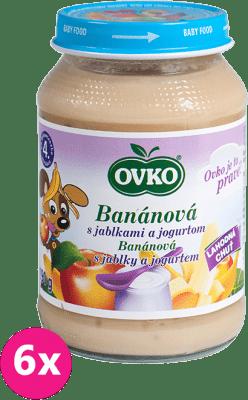 6x OVKO Banán s jablkami a jogurtom 190g – ovocný príkrm