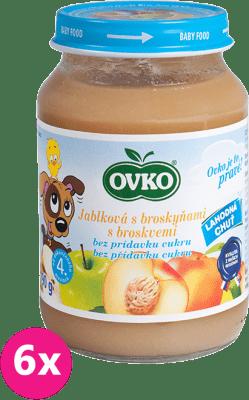 6x OVKO Jablko s broskyňami bez pridaného cukru 190g – ovocný príkrm