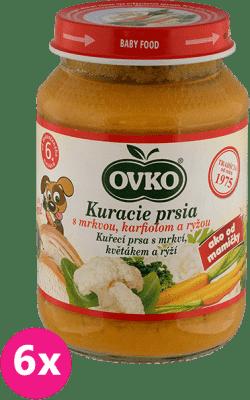 6x OVKO Kuracie prsia s mrkvou, karfiolom a ryžou 190g – mäsovo-zeleninový príkrm