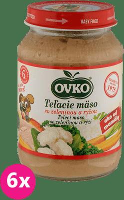 6x OVKO Teľacie mäso so zeleninou a ryžou 190g – mäsovo-zeleninový príkrm