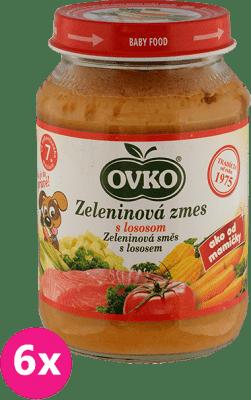 6x OVKO Zeleninová zmes s lososom 190g – mäsovo-zeleninový príkrm