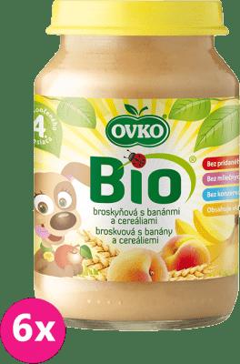 6x OVKO BIO Broskyňa s banánmi a cereáliami 190g – ovocný príkrm